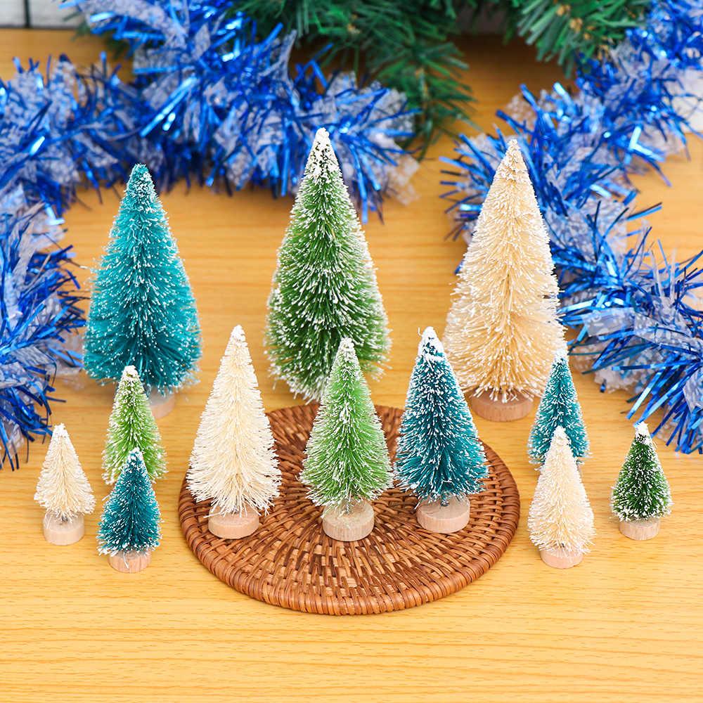 5 uds Mini Sisal cepillo de botella árbol de Navidad Santa, nieve helada adorno pequeño DIY árbol de Navidad Pino artificial árbol casa de pueblo casa parte