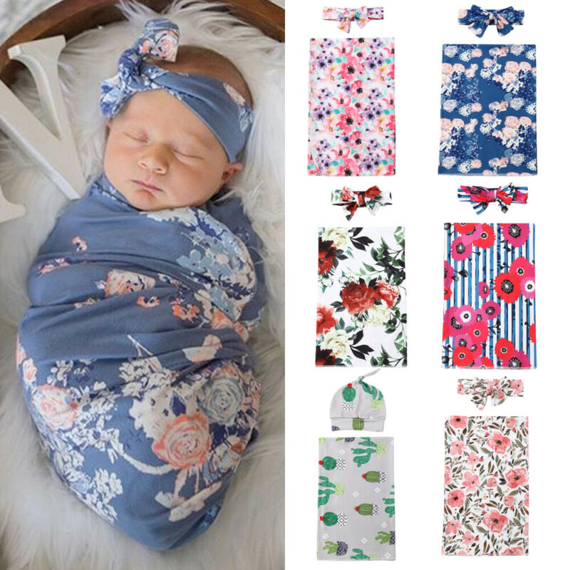 PUDCOCO Newest Soft Infant Swaddle Muslin Blanket Newborn Baby Boys Girls Floral Wrap Swaddling Blanket Set 2PCS Outfits