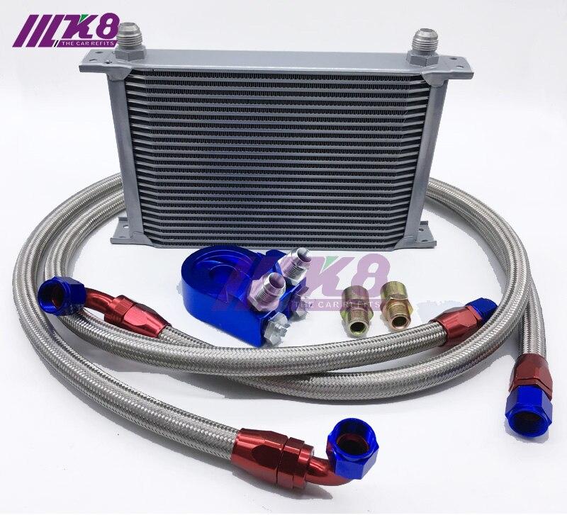 Adaptador de termostato motor corrida óleo kit refrigerador para carro/caminhão prata (7row 10row 13row 16 fileira 19row)