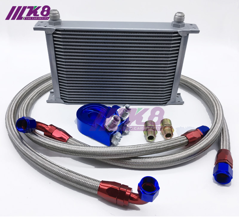 Kit de enfriador de aceite de carreras de motor adaptador de termostato para coche/camión plateado (7Row 10Row 13Row 16 Row 19Row)