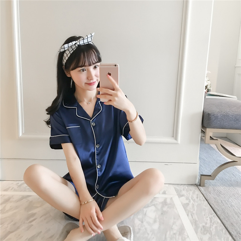 JULY'S SONG Women New Faux Silk Pajama Set V-Neck Simple Pure Color Pajamas Leisure Nightwear Short Sleeves Shorts Sleepwear