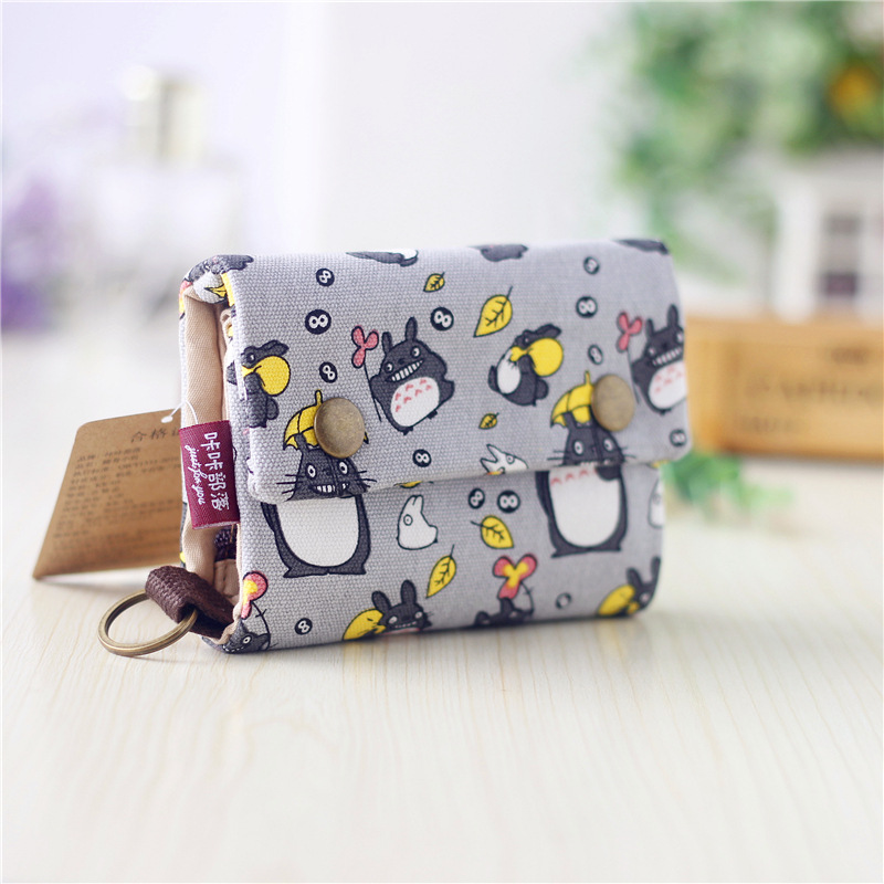 1pcs New Canvas Cartoon Totoro Cat Printed Flower Dog Women Short Wallet Cute Mini Money Key Bag Coin Pocket Purse For Children
