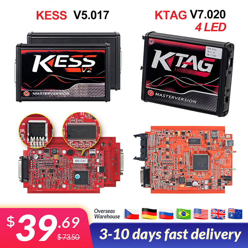 Full Set Ktag 7 020 KESS V2 5 017 V2 47 Red LED BDM Frame