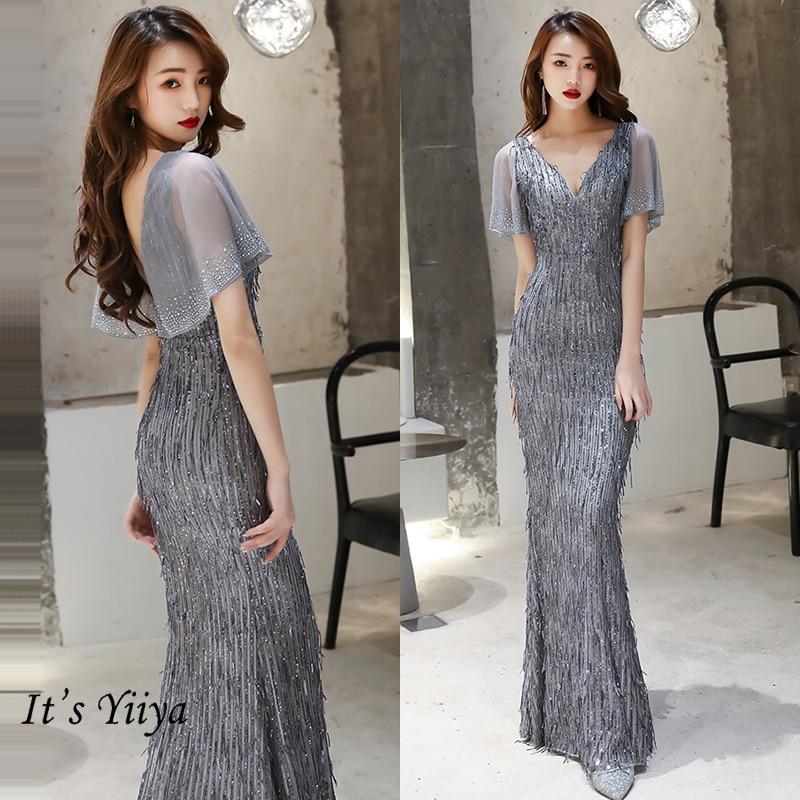It's Yiiya Evening Dress Mermaid Plus Size Elegant Formal Evening Dresses For Women K030 Plsu Size Robe De Soiree Party Gowns