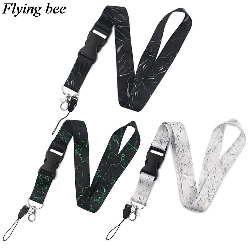 Flyingbee Marble Printing Keychain Phone Lanyard Women Fashion Strap Neck Lanyards For ID Card Phone Keys X0845