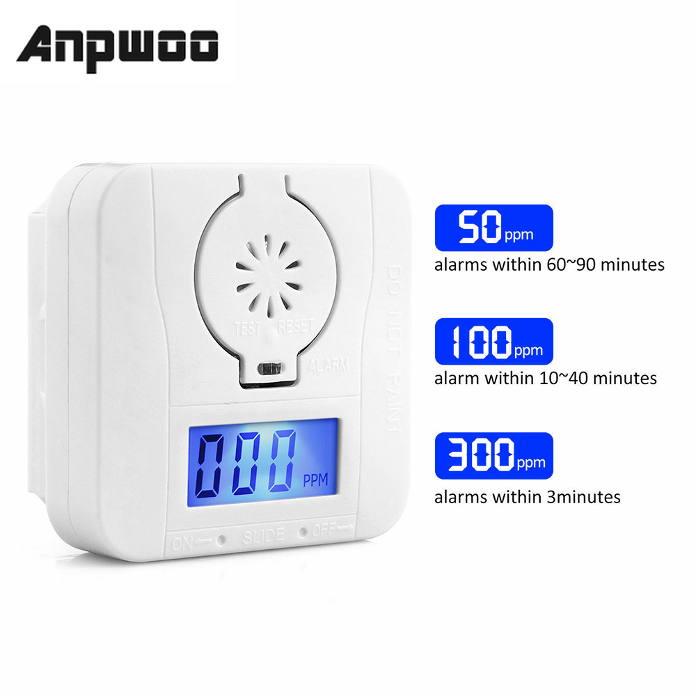 ANPWOO Battery-Power-Detector Alarm Digital Carbon LCD Warning title=