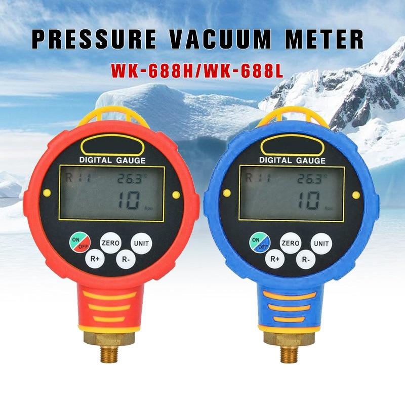 PINTUDY Low / High Pressure Refrigeration Digital Manifold Gauge Tester Pressure Vacuum Meter WK-688H Pressure Gauges Measuring