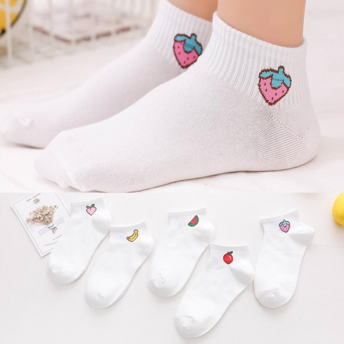 2019 new spring summer art fresh fruit boat socks white soft cotton socks breathable cute promotion women's travel hosiery