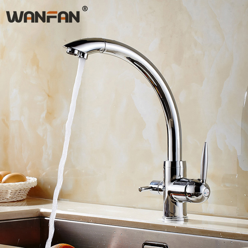 Kitchen Faucets Purifier 3 Way Taps Water Filter Black Chrome Dual Switch Handle Crane Brass Sprayer Hot And Cold Tap N22-019