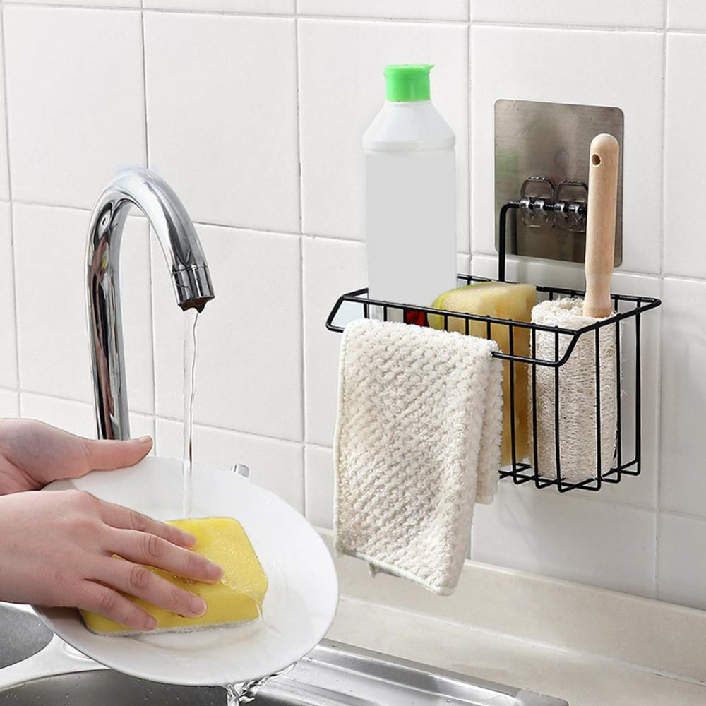Wrought Iron Kitchen Rack Rag Drain Rack Household Non-marking Sink Basket Detergent Sponge Storage Rack