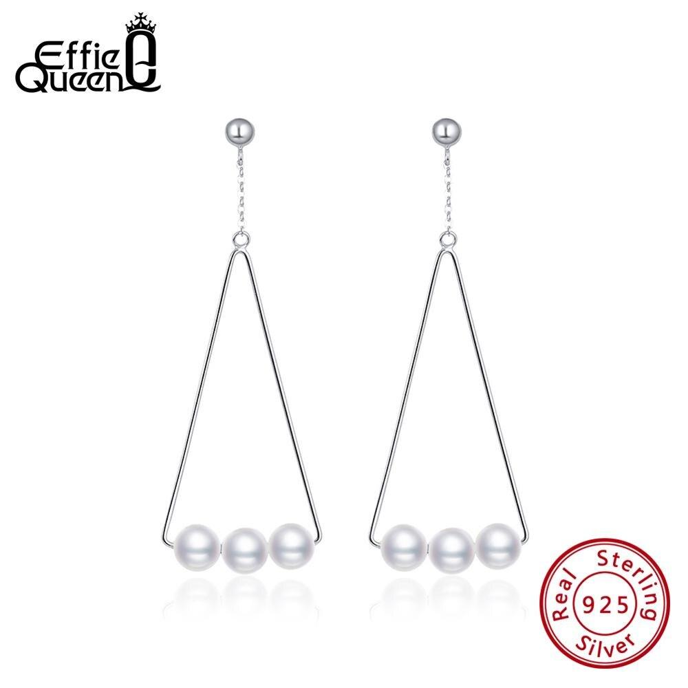 Effie Queen 925 Silver Earrings For Women Big Triangle Shape Shell Pearl Drop Earing Wedding Party Sterling Jewelry BE152