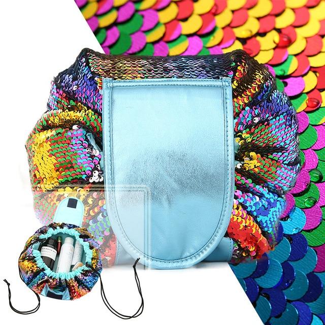 Toiletry Wash Cosmetic Bag Makeup Storage Case Organizer Mermaid-Color Drawstring shrink Women Fashion Travel Accessories Items 3