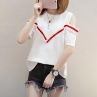 Summer dress, open shoulders, loose half sleeved t shirts, women's summer large size, careful machine, short sleeved jackets,