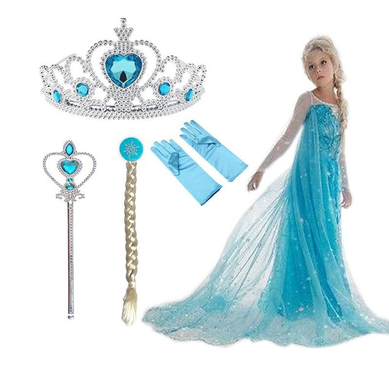 2020 New Elsa Dress Girls Summer Dress Princess Cosplay Costume Dresses For Kids Christmas Birthday Fancy Party Vestidos Menina