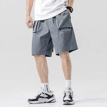Streetwear Summer Casual Shorts Men Pockets Mens Cargo Shorts Bermuda Knee Length Men's Shorts plaid knee length casual mens shorts