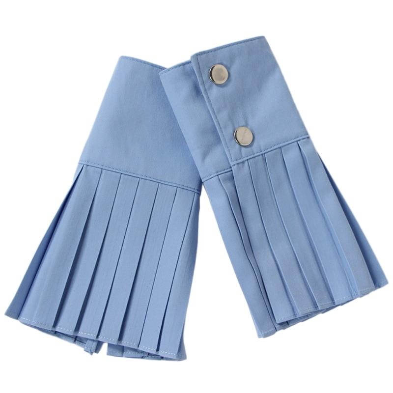 1 Pair Detachable Shirt Pleated Horn Flare Sleeve Cuffs Over Sleeve Wristband