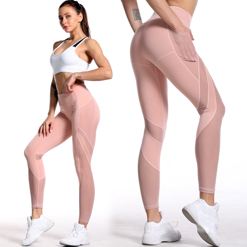2020 Amazon Fitness Pants Pocket  European And American Mesh Stitching Solid Ankle-Length Casual Workout Leggings