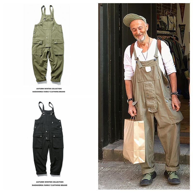Ins Autumn Wild American Street Fashion Trend Couple Loose Straight Pocket Bib Men's Overalls Casual Trousers Jumpsuit