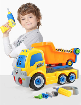 цена на Children Electric Drill Disassembly Engineer Truck Educational Puzzle Toys For Children Assembly Car Model Building Kits
