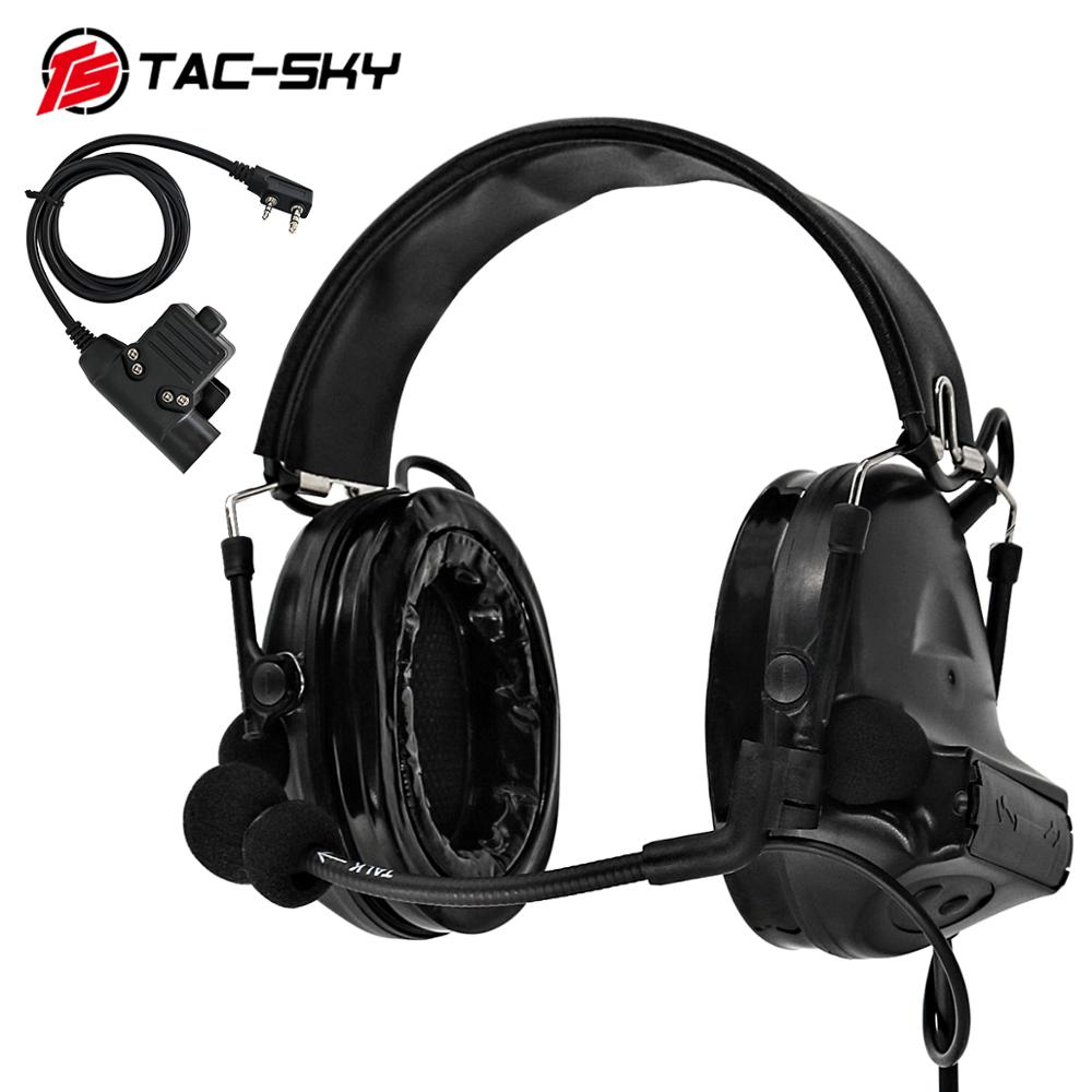 TAC-SKY U94 Kenwood Plug PTT + COMTAC II Silicone Earmuffs Outdoor Hunting Sports Noise Reduction Pickup  Tactical Headset BK