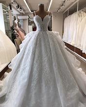 Elegant Spaghetti Strap Ball Gown  Beading Applique Lace Draped Wedding Dress 2019 Chapel Train Lace Up Back Dress Wedding lace insert draped mini bodycon dress