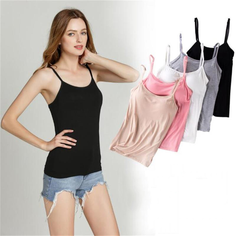New Arrival Sexy Chest <font><b>Pad</b></font> Camisole Modal Female Tank Top <font><b>Bra</b></font>-t No Steel Ring Free <font><b>Bra</b></font> Cup Bottoming <font><b>Shirt</b></font> Ladies Camis image