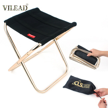 VILEAD 2 Size Folding Camping Stool Ultralight 7075 Aluminum Portable for Fishing Picnic Tourist Outdoor Foldable Chair