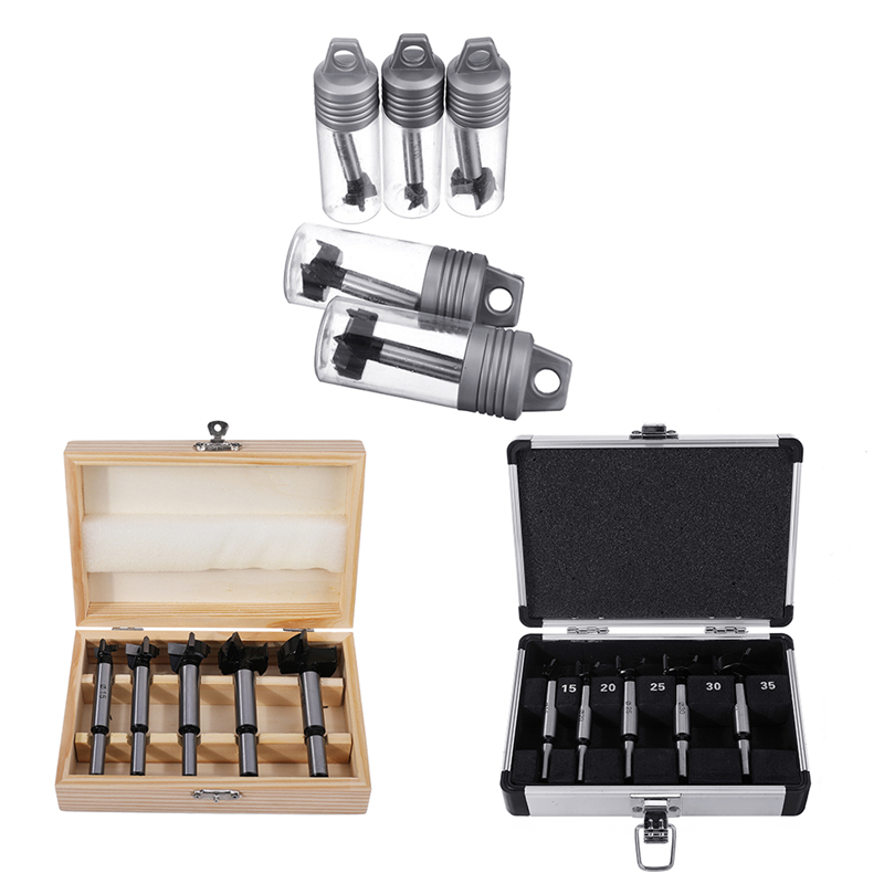 5Pcs Professional Carbide Forstner Drill Bit Set 15 20 <font><b>25</b></font> <font><b>30</b></font> 35mm Wood Auger Cutter Woodworking Hole Saw for Power Tools image