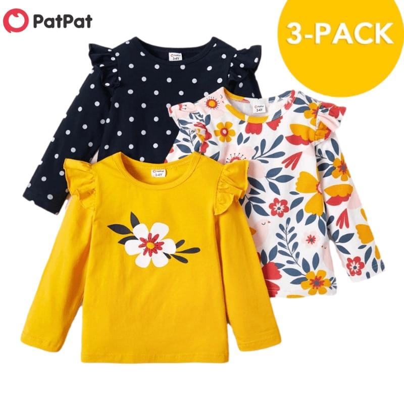 PatPat 2021 Новое поступление на осень и весну, 3 шт. в комплекте, футболка для девочек с цветочным рисунком в горошек; Футболка с длинным рукавом для детей, одежда для малышей, одежда|Тройники| | АлиЭкспресс