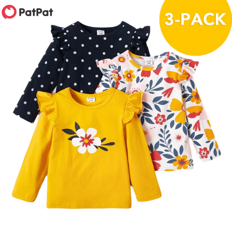 PatPat 2021 New Arrival Autumn and Spring  3-pack Girls T-shirt Floral Dots  Long-sleeve Tee Sets Children Clothing