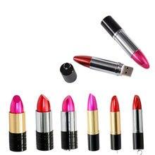 Popular Gift for Girls USB Flash Drive Pink Red Metal lipstick 4GB 64GB 8GB PenDrive 16GB 32GB Pen Memory Sticks