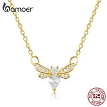 bamoer Sterling Silver 925 Gold Color Bee Choker Neckalce for Women Clear CZ Statement Jewelry Collier SCN373(China)