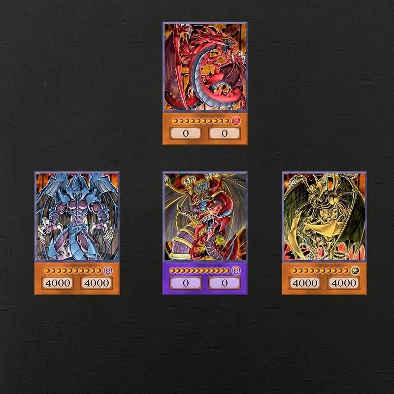 4 peças de yu-gi-oh anime cartão de estilo três magia mágica conjunto obelisco yugioh dm clássico orica cartão proxy memórias da infância