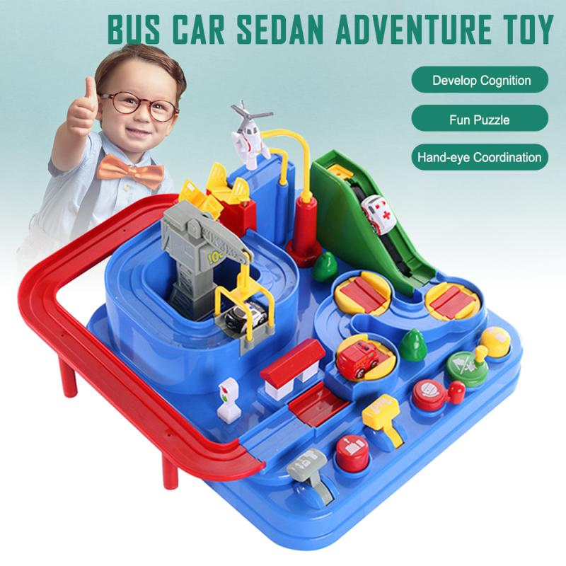 Baby Education Railcar Toy Puzzle Toys Eco-friendly Baby Adventure Toy  Rescues Squad Adventure Rail Car Model Racing Xmas Toys