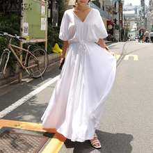 2020 ZANZEA Women Half Sleeve Maxi Long Dresses Casual V Neck Summer Dress Bohemian Solid Cotton Robe Loose Vestido Plus Size(China)