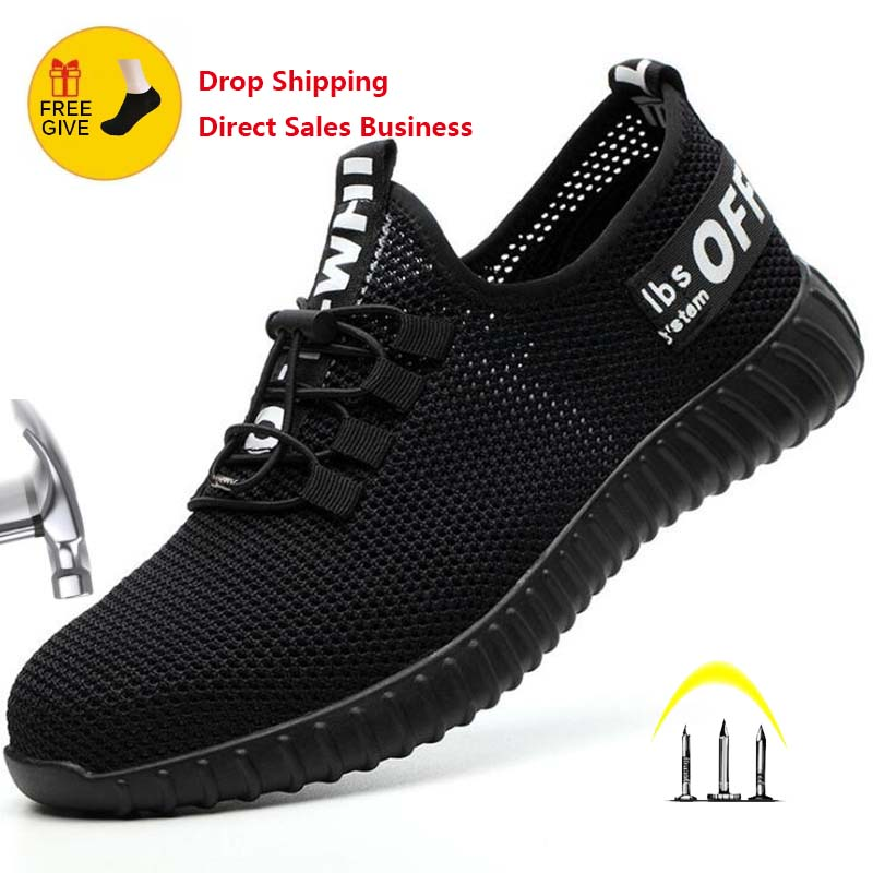 2020 New Safety Shoes For Men Summer Breathable Work Shoes Lightweight Anti-smashing Shoes Male Construction Work Mesh Sneakers