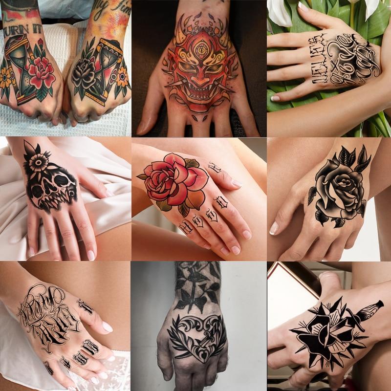 10pcs/lot Hand Tattoo Temporary Tattoo Sticker Arm Totem Tiger Hand Rose Flower Fake Flash Tattoo Arm Body Art Girl Women Men