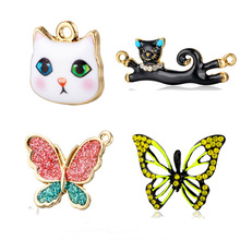 5pcs/Lot Cat Animal Rhinestone Butterfly Enamel Charm Pendants for DIY Jewelry Finding Accessories Gifts