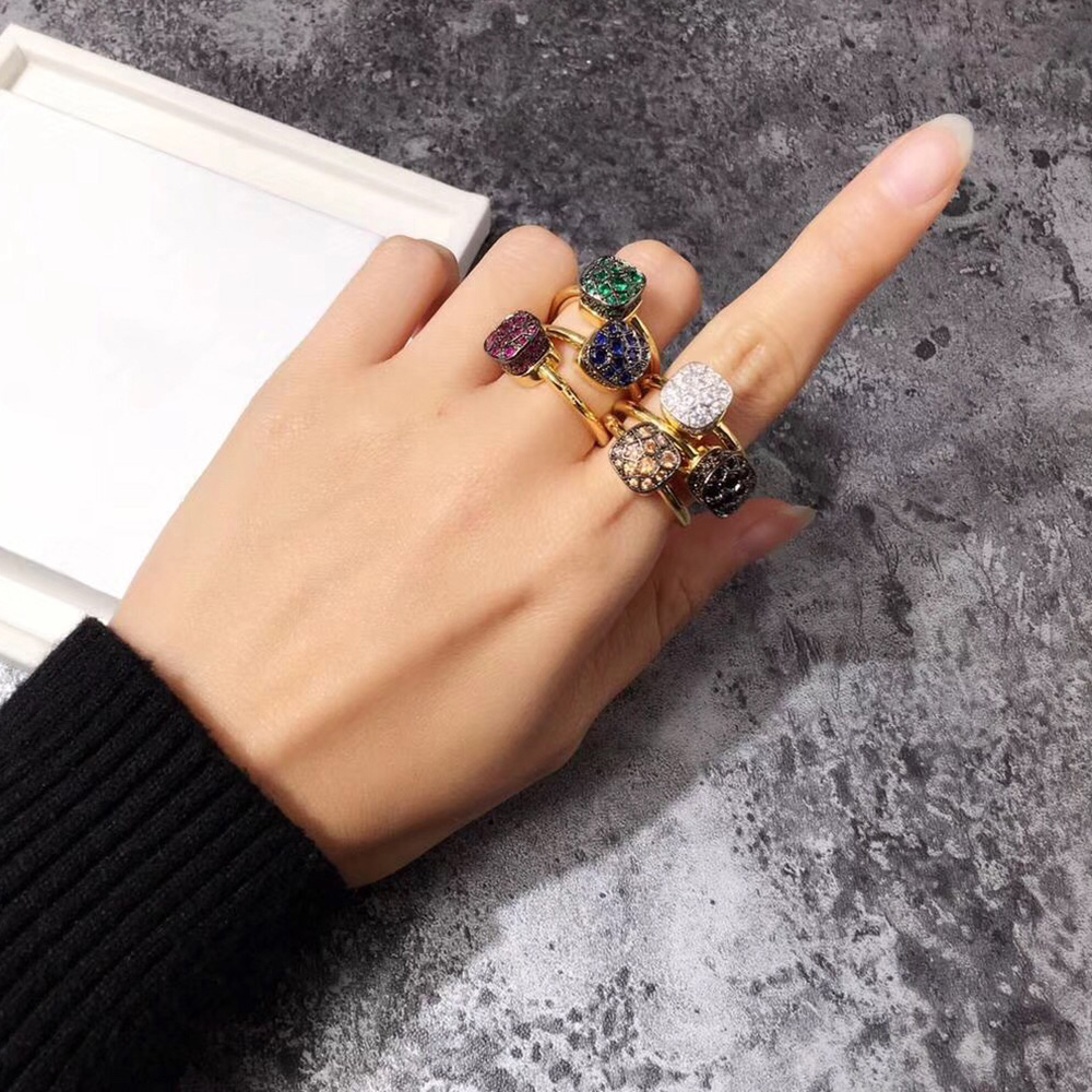 Brand Candy Stone Ring for Women Luxury Rose Gold Silver Color Jewelry Mix Your Own Style Bijoux Designer Most Fashion Party