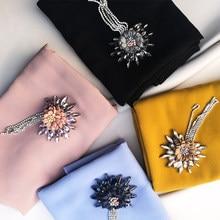 Luxury Crystal ribbon flower chain tassels hijab scarf chiffon diamont soft women scarves and shawls fashion muslim hijabs