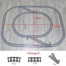 Trens da cidade faixas flexíveis bifurcadas trilhos curvados retos interruptor bloco de construção tijolos técnica criador brinquedos para criança