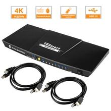 HDMI KVM Switch 4x1 KVM Switch HDMI Support 3840*2160/4K*2K Extra USB 2.0 Port with 2 Pcs 5ft KVM Cables