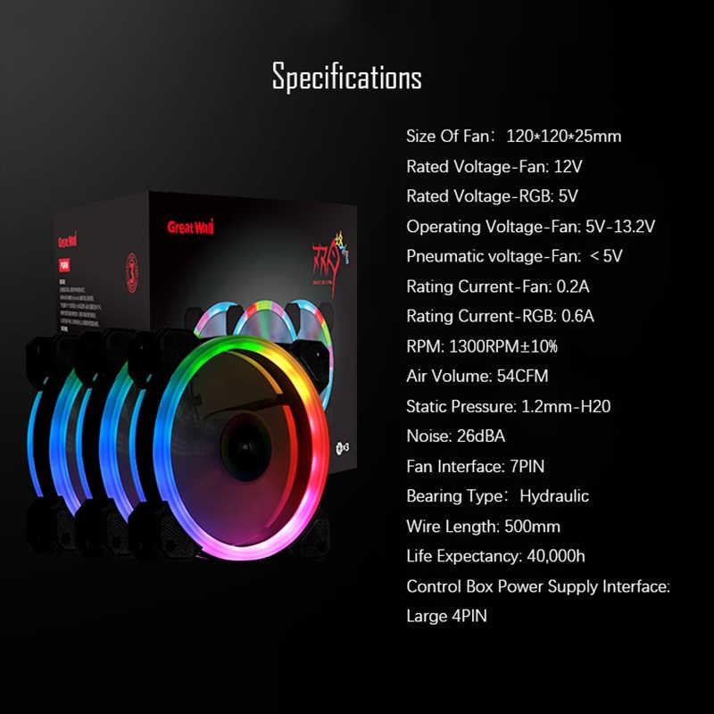 Grande paroi PC RGB ventilateur refroidisseur 120mm silencieux dissipateur de chaleur pour coque d'ordinateur ventilateurs 16 réglable LED 12V ventilateur refroidisseur de processeur Kit RGB