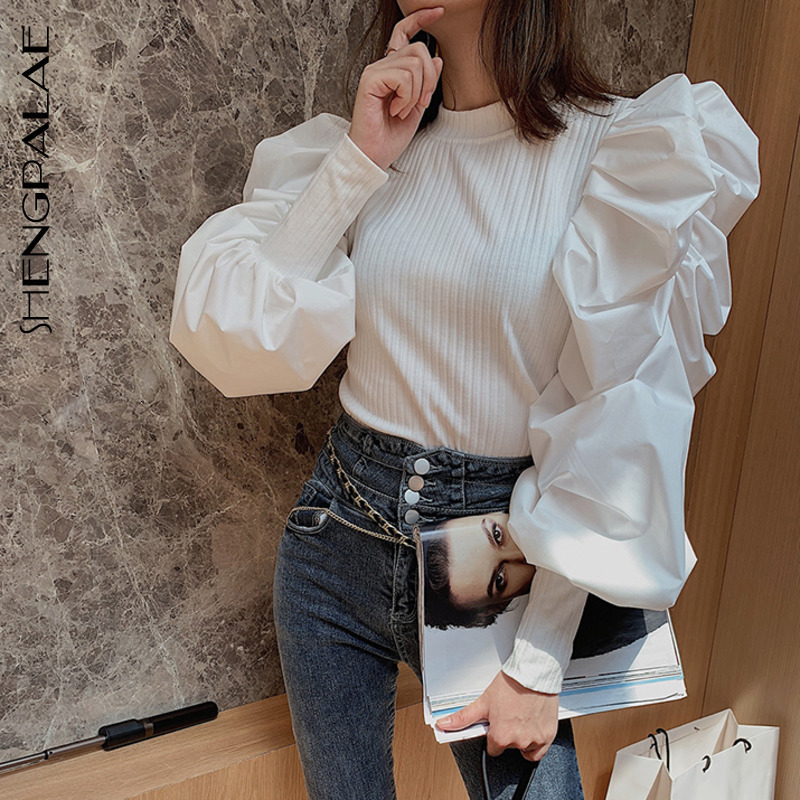 SHENGPALAE Puff Sleeve Shirt Split Joint Knitting Woman Tops Round Collar Thin Rendering Unlined Upper Garment Blouses FV473