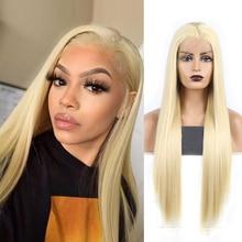 Charisma pelucas rubias de pelo largo liso y sedoso para mujer, peluca sintética con malla frontal resistente al calor, peluca de Cosplay con parte lateral