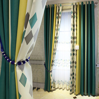Luxury Curtains for Living Room Nordic Curtain for Bedroom Geometry Curtain Green Yellow Splicing Blinds Eco friendly Drapes
