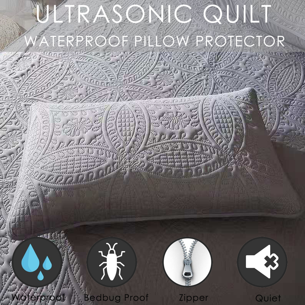 Ultrasonic Quilted Waterproof Pillow Protector 48x74cm Hotel Home Bed Pillow Cover Dust Mites Bedbug Proof Zipper Style|Pillow Case| |  - title=