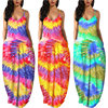 Women Summer Plus Size Maxi Dresses Sexy Solid Stripes Dress Casual Female Loose Sleeveless Tie Dye Beach Party Dress 2021 New 5
