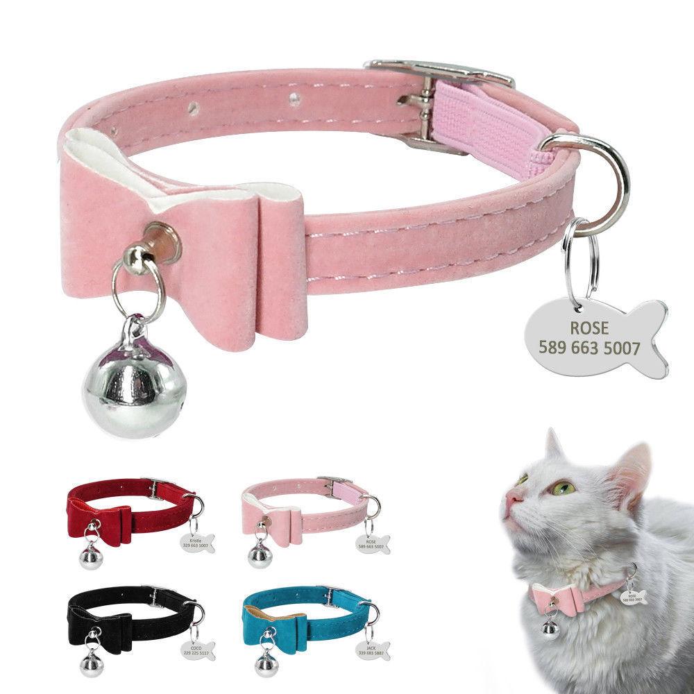 Ошейник для кошек с колокольчиком, персонализированный ошейник для щенка, идентификационный ярлык, ошейник с бантом, Заказные ошейники для ...
