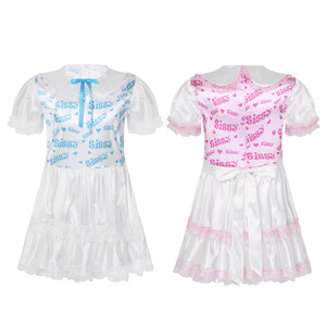 Image 2 - 男性絹のようなサテンベビードール襟パフスリーブ弱虫プリントボディスレースフリルトリミング大人赤ちゃんの恋人クロス Dresse 衣装